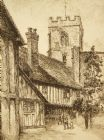Antique etching; 'Statford on Avon, England' pencil signed; Edward J. Cherry